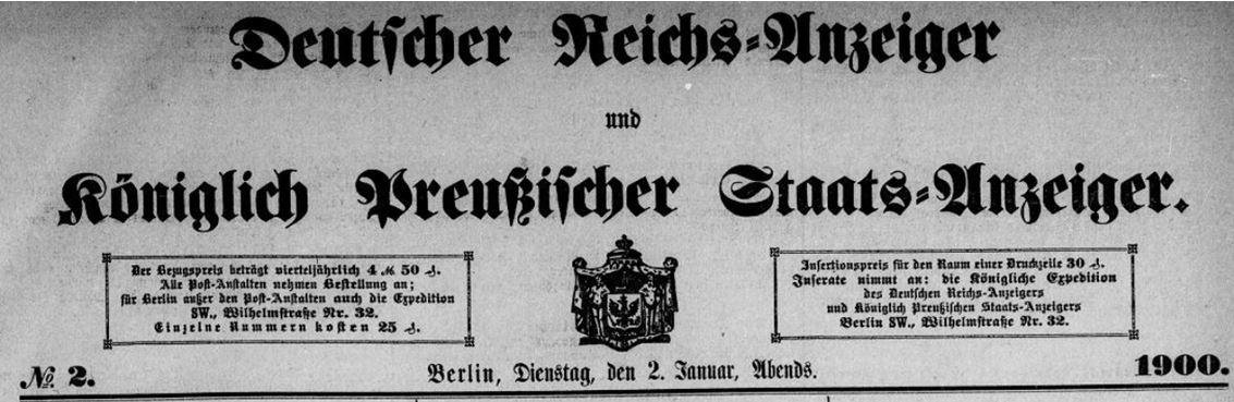 01_Deutscher Reichsanzeiger_1900_01_02_Nr002_p01_Titelvignette