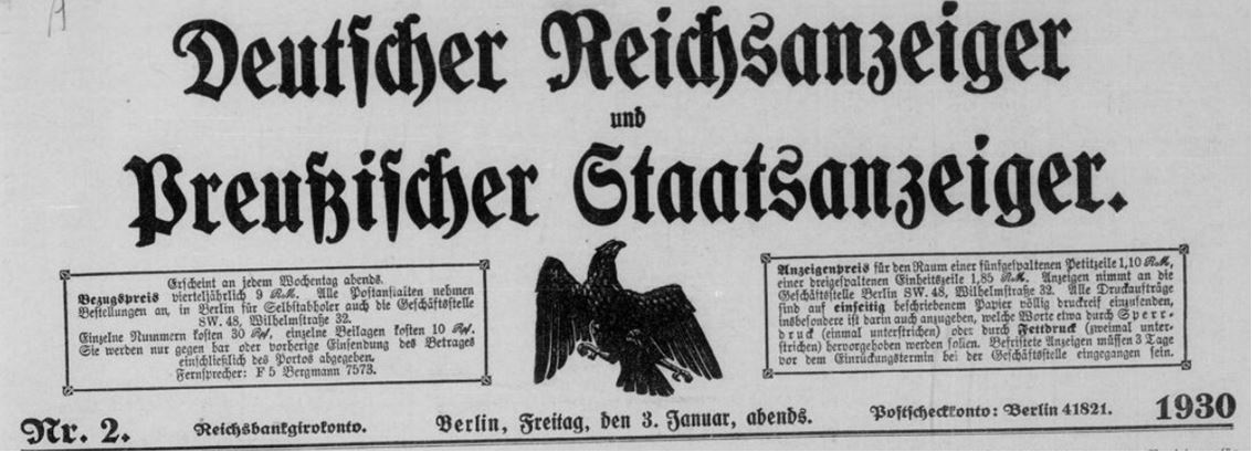 02_Deutscher Reichsanzeiger_1930_01_03_Nr002_p01_Titelvignette